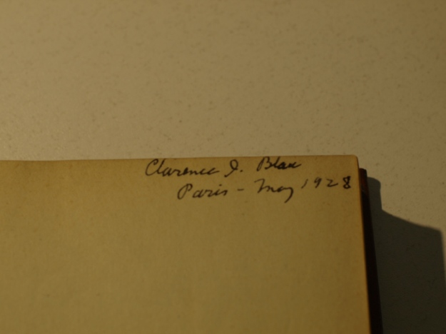 Flyleaf of Ulysses signed Clarence I. Blau Paris 1928