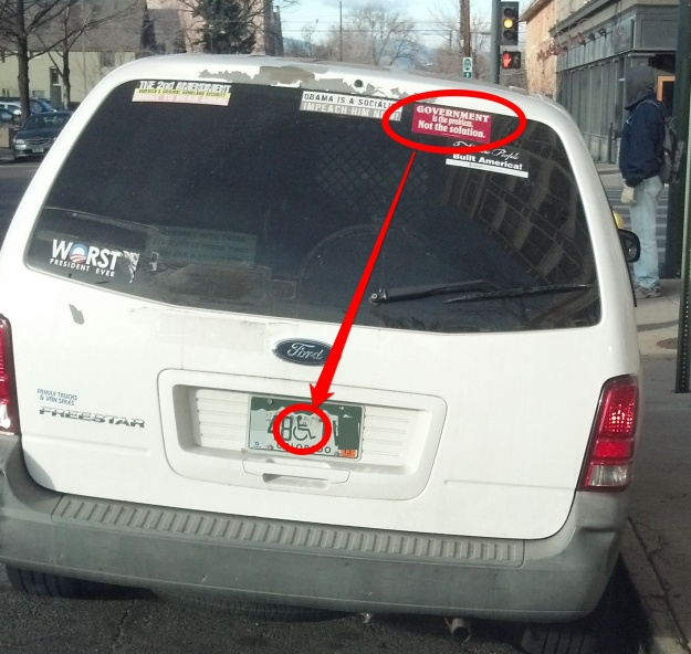 Van with anti-government stickers