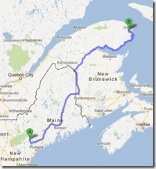 Harrison to Gaspe map