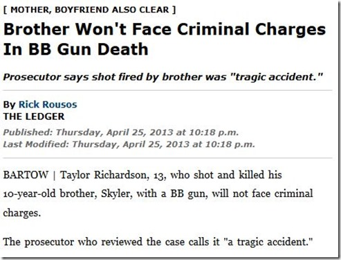 Gun tragic accident