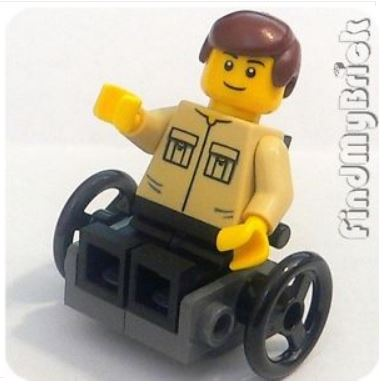 {Image of lego minifigure man in a wheelchair wearing a khaki shirt with a benevolent expression on his face.}
