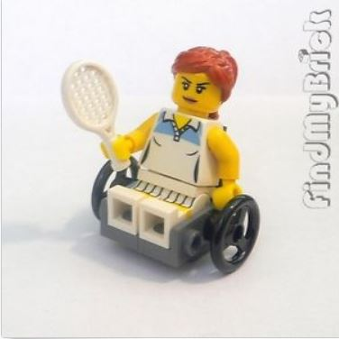 {Image of lego minifigure woman in a wheelchair holding a tennis racquet.  On her face is a very determined look, with eyes wide and yebrows constricted.}