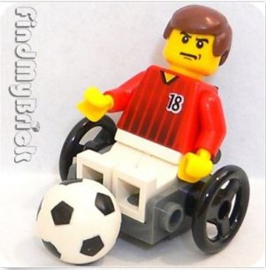 {Image of lego minifigure man in a wheelchair kicking a soccer ball.  On his face is a pissed off look, with his mouth ticked off to the side and his eyebrows constricted.}