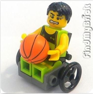 {Image of lego minifigure man in a wheelchair holding a a basketball.  On his face is a very angry look, with his teeth gritted and his eyebrows constricted.}
