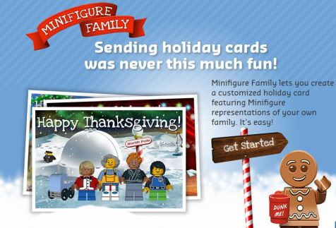 "{Lego ad showing sample family of four people standing on two feet, plus a baby carriage.  Text reads ""Minifigure Family.  Sending holiday cards was never this much fun!  Minifigure Family lets you create a customized holiday card featuring Minifigure representations of your own family. It's easy!"""