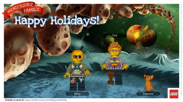 "{Image of two people and a dog on the surface of a distant planet, surrounded by flying asteroids, with a volcano and meteorite in the background.  The first Lego Minifigure on the left is labeled ""Amy.""  She has a helmet with antennae, a green shirt hanging with knives and other implements, and -- hanging from her belt -- a skull, a tooth and a test tube containing a spider.  The middle figure, labeled ""Tim"" is a man with blond hair, glasses and a wooden leg.  His shirt contains dials and meters.  The third figure is a yellow dog.}"