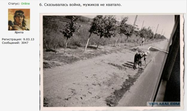 {Image snipped from a blog showing a black and white photograph of women working on a road and Cyrillic (Russian) letters in a caption above the photo.  The image also includes an icon representing the commenter, who looks like a buff comic book hero.}