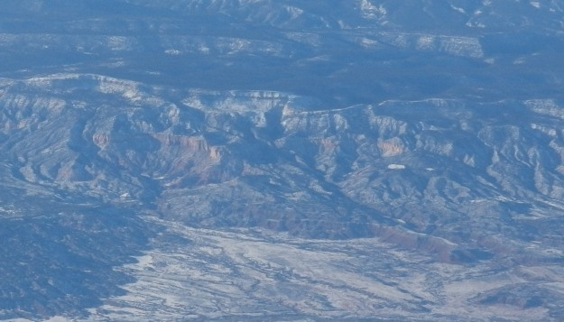 {Image:  Photo of mesas taken from plane.}
