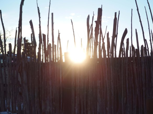 {Image:  fence made of vertical pieces of natural wood of varying heights.  In the bottom half of the photo, the wood slats are backed by a solid piece of wood.  In the top half of the photo, there is nothing behind the vertical slats, and the sun peeks through between two of the slats.}