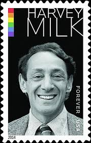 "Image: US postage stamp bearing the image of a smiling white man, with the legend ""Harvy Milk."""