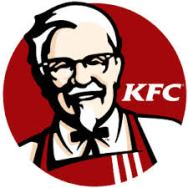 Image:  Kentucky Fried Chicken logo.  Old white man with white goatee and red apron.