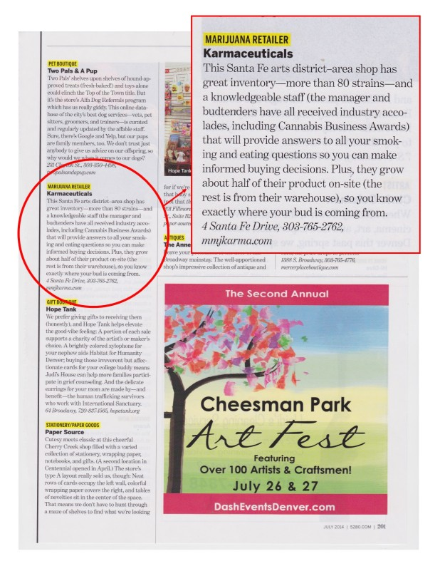 """Image: Page from 5280 magazine """"Top of the Town: Shopping"""" listing best marijuana retailer."""