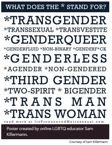 "Image: Graphic that reads, ""Trans*. I recently adopted the term 'trans*' (with the asterisk) in my writing. I think you should, too. If it's new to you, let me help clarify. Trans* is one word for a variety of identities that are incredibly diverse, but share one simple, common denominator: a trans* person is not your traditional cisgender wo/man. Beyond that there is a lot of variation. What does the * stand for? *Transgender, *Transsexual, *Transvestite, *Genderqueer, *Genderfluid, *Non-binary, *Genderf**k, *Genderless, *Agender, *Non-Gendered, *Third gender, *Two-spirit, *Bigender *Transman *Transwoman"" Poster created by online LGBTQ educator Sam Killerman."