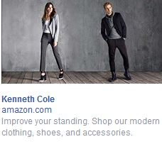 Image:  A man and a woman in a clothing ad with the legend, Kenneth Cole:  Improve your Standing.  Shop our modern clothing, shoes and accessories.