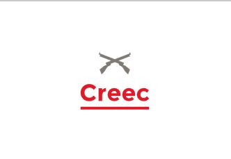 """Image:  the word """"CREEC"""" with a pair of rifles cross above it."""