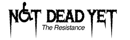 Image:  Logo:  Not Dead Yet -- the Resistance.