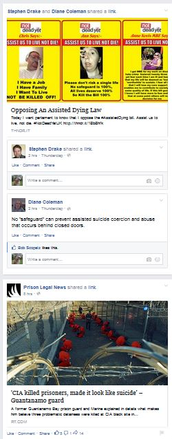 "Image:  Facebook feed with links by Stephen Drake and Dian Coleman to an article entitled ""Opposing An Assisted Dying Law,"" and immediately below, a link by Prison Legal News to an article entitled, ""CIA killed prisoners, made it look like suicide."""