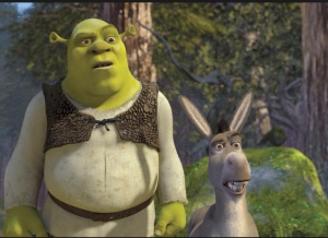 Image: cartoon of Shrek (green ogre in leather vest) and donkey.