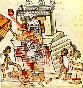 Image: drawing of several people stabbing and removing the hearts from others, with much blood.
