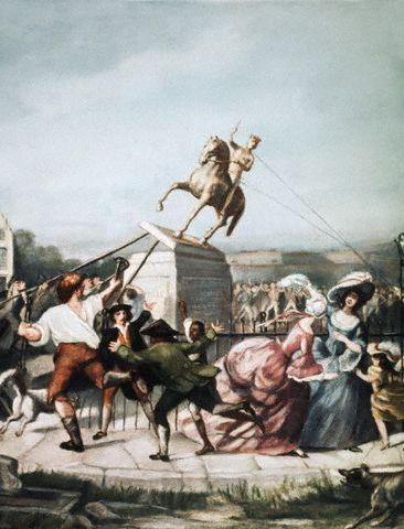 Image: painting of men and women in 18th century clothing pulling down a statue of George III on horseback.