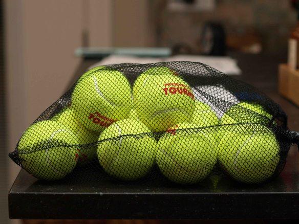 {Image: mesh bag full of tennis balls.}
