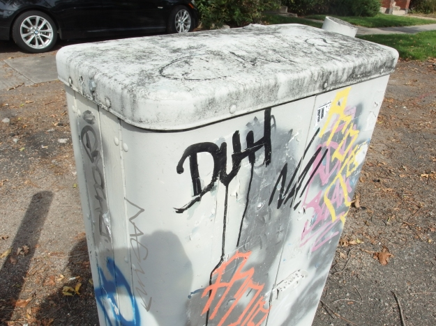 "Image: a utility box with graffiti that reads, ""Duh."""