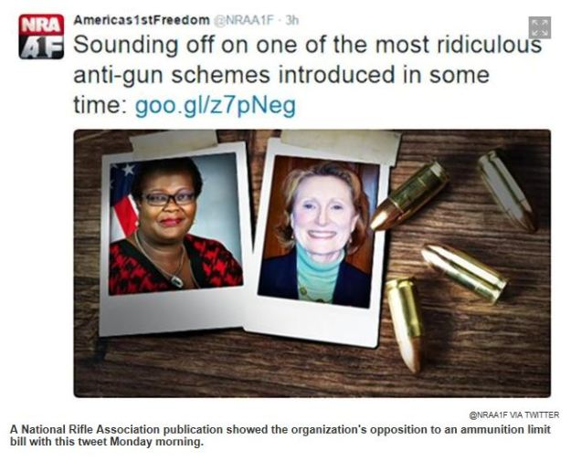 "Image: copy of tweet from NRA with showing photos of a black woman in a red-checked suit jacket and a white woman in a green turtle-neck and black suit jacket with four bullets arrayed next to the photos.  Text reads:  ""sounding off on one of the most ridiculous anti-gun schemes introduced in some time."