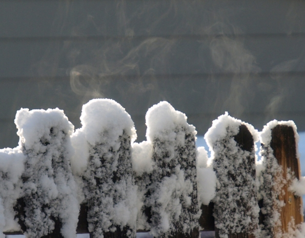 Image: four pickets of a fence with patchy snow and steam rising.