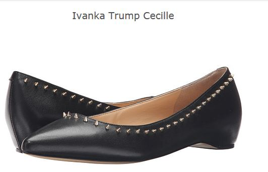 "{Image:  Ladies flat shoes in black with a row of spikes around the opening.  The are called ""Ivanka Trump Cecille.""}"