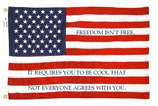 Image: American flag with these words written in the white stripes: Freedom isn't free. It requires you to be cool that not everyone agrees with you.