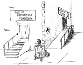 "Image: cartoon showing a person in a wheelchair looking at a building with stairs leading to door labeled ""Suicide Prevention Program,"" and a ramp to a door labeled ""Assisted Suicide."""