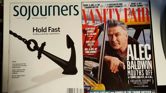 Image: Photo of Sojourners magazine next to Vanity Fair.