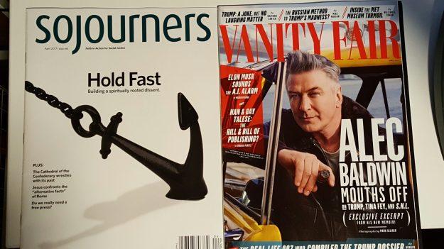 Image: Photo of Sojourners magazine next to Vanity Fair.