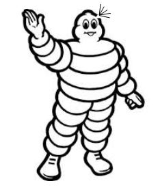 Image: Michelin Tire logo - human figure made of tires -- with a small hole in his head and lines indicating a leak.