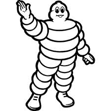 Image: Michelin Tire logo - human figure made of tires, with the effect of a puffy, tire-encased human.