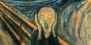 "Envard Munch's ""The Scream."" Description from the BBC: Beneath a boiling sky, aflame with yellow, orange and red, an androgynous figure stands upon a bridge. Wearing a sinuous blue coat, which appears to flow, surreally, into a torrent of aqua, indigo and ultramarine behind him, he holds up two elongated hands on either side of his hairless, skull-like head. His eyes wide with shock, he unleashes a bloodcurdling shriek. Despite distant vestiges of normality – two figures upon the bridge, a boat on the fjord – everything is suffused with a sense of primal, overwhelming horror."