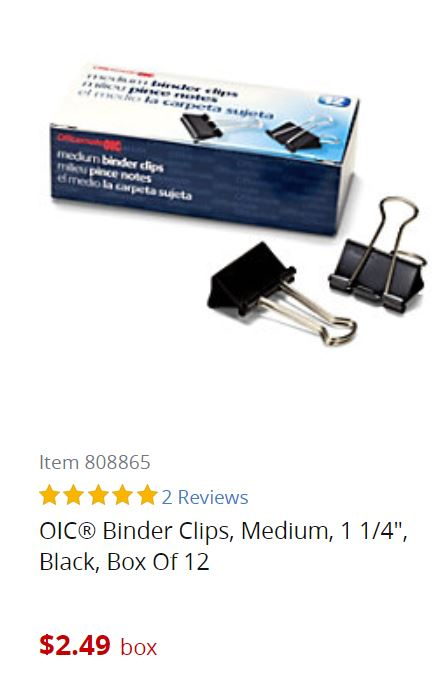 Image: box of 12 binder clips for $2.49