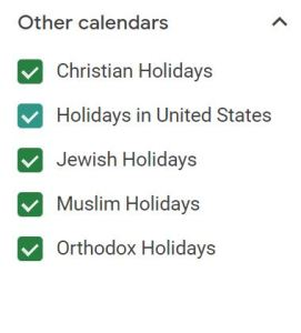"List titled ""Other calendard"" with checked boxes for Christian Holidays; Holidays in United States; Jewish Holidays; Muslim Holidays; and Orthodox Holidays."""