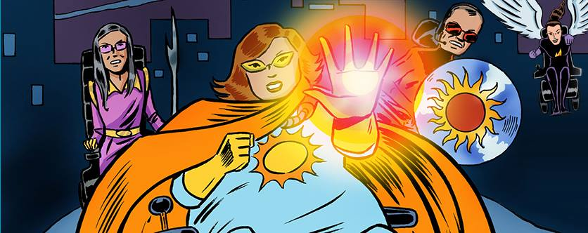 Cartoon drawing of Carrie as a superhero, with an orange cape.
