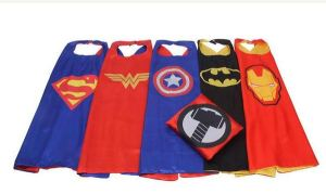 Super hero capes including Superman, Wonder Woman, Captain America, Batman, and Iron Man